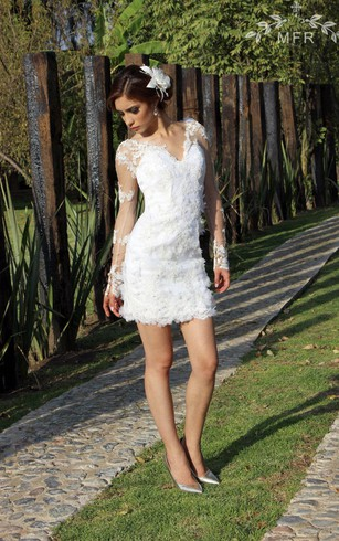 Short bridal dresses knee length simple casual wedding gowns mini lace organza satin dress with flower embroideries junglespirit Choice Image