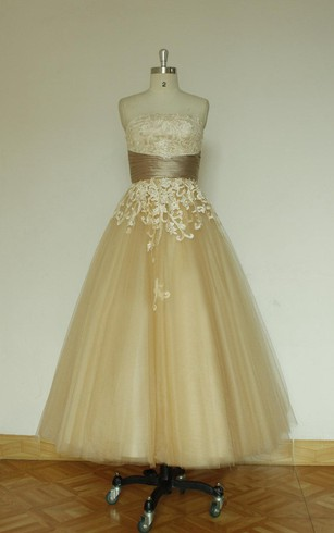 Tulle A Line Strapless Dress With Lace Bodice And Cinched Waistband