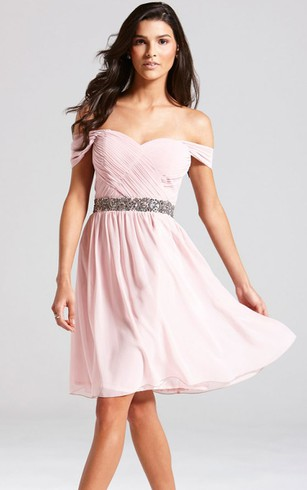 Delicate Off The Shoulder A Line Dress With Beaded Sash