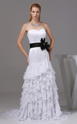 Sleeveless Mermaid Cascading Ruffles And Gown With Bow