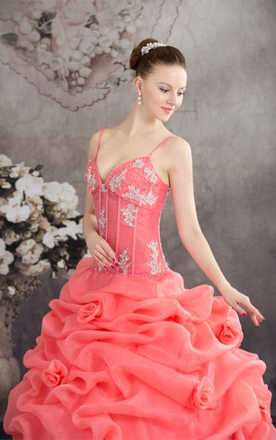 Spaghetti-Strap Ruffled Spaghetti Straps and Ball-Gown With Appliques