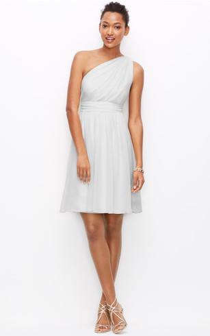 One-Shoulder Dress With Ruching And Pleats