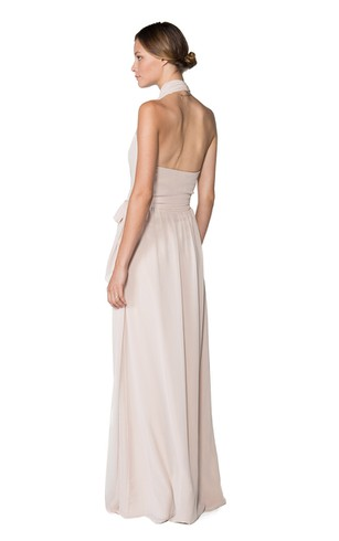 Fabulous Halter Sleeveless Floor-length Chiffon Dress With Keyhole Back