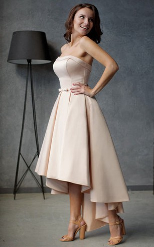 A-Line High-Low Strapless Sleeveless Satin Pleats Ruffles Zipper Dress