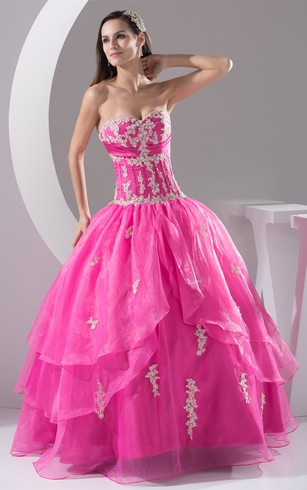 Sweetheart Pleated Ruched Bodice and Ball-Gown With Appliques