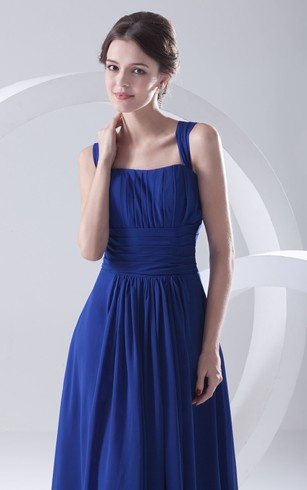 Chiffon Floor-Length Dress With Pleating and Straps