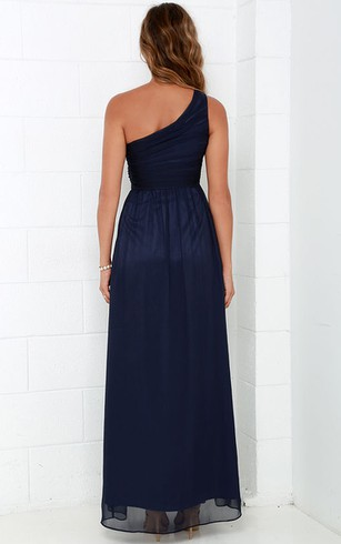 Long One-Shoulder Chiffon Unique Dress With Ruching