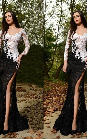 Sexy Lace Appliques Mermaid Prom Dress 2016 Front Split Black and White