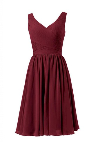 Sleeveless A-line Chiffon Dress With Pleats