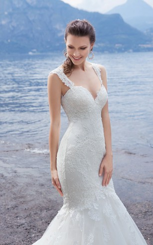 Mermaid Floor-Length Sweetheart Sleeveless Lace-Up Lace Dress With Appliques