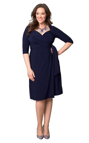 Half-sleeved Knee-length Ruched Jersey Dress