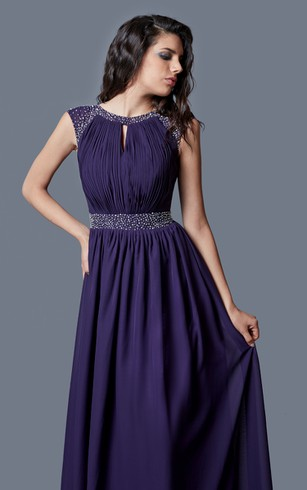 Beaded Cap-sleeved Bateau Neck Ruched Long Chiffon Dress