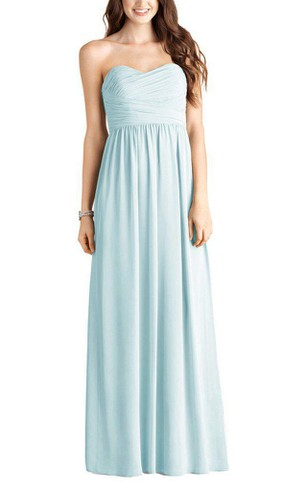 Strapless Ruched Chiffon Long Dress