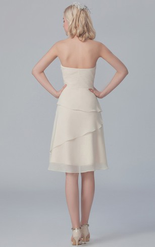 Chiffon Layered Sweetheart Formal Short Asymmetric Dress