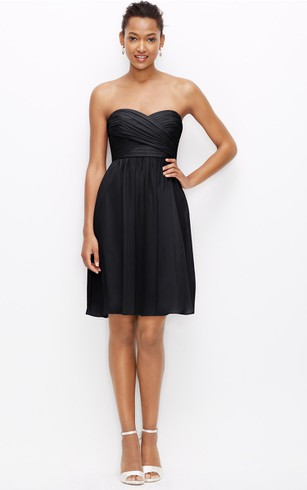 Chiffon Sweetheart Short Dress With Crisscross Ruching