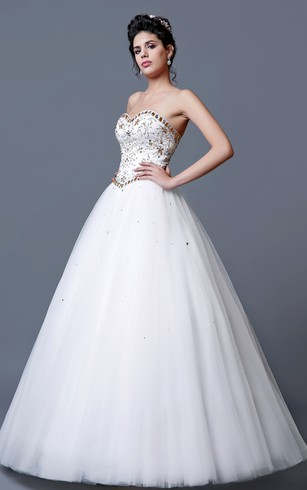 Elegant Strapless Long Tulle Prom Dress With Embroidered Corset