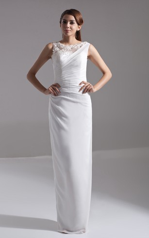 Sleeveless Chiffon Pencil Dress With Side-Draping