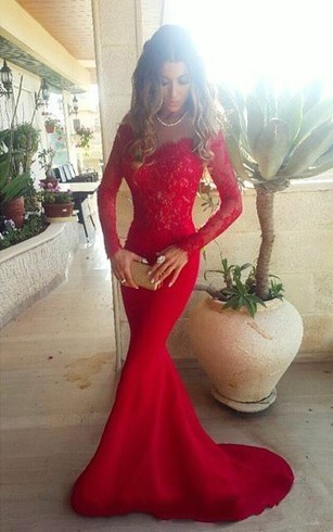 67d267ff8cee0 Sexy Red Lace Appliques Mermaid Prom Dress 2018 Sweep Train Long Sleeve ...