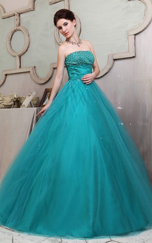 Floral Strapless A-Line Ball Gown With Ruffles and Beading