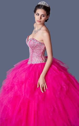 Flamboyant Sequined Sweetheart Layered Quinceanera Ball Gown With Bolero