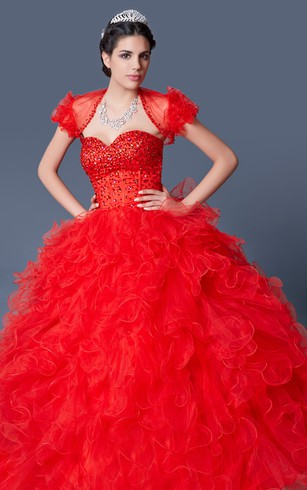 Grand Ruffled Organza Quinceanera Dress with Jacket