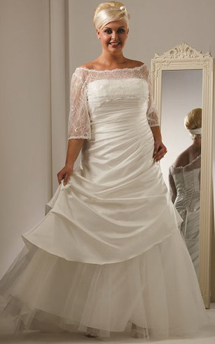 Long Sleeves Wedding Dress For Plus Ladies Full Figure Size