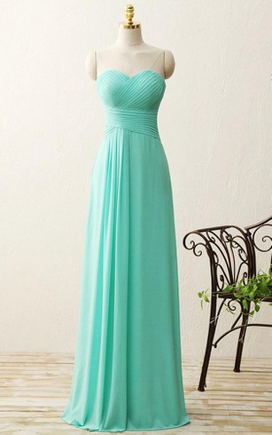 A-line Floor-length Sweetheart Pleats Zipper Chiffon Dress