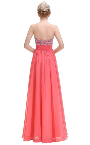 Sweetheart Floor-length Chiffon Dress with Sequins
