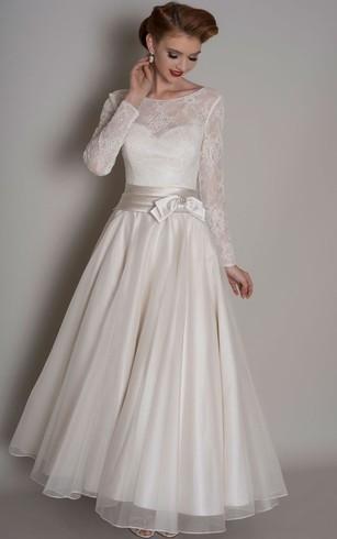 Non white wedding dresses colored wedding dresses dorris wedding a line lace long sleeve floor length scoop neck satintulle wedding dress junglespirit Images