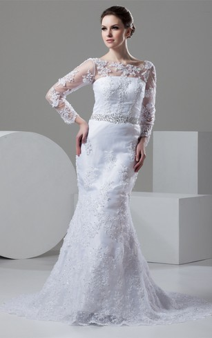 Bateau-Neck Mermaid Lace Long-Sleeve Dress With Illusion