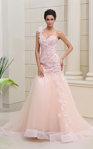 Blushing Pink Mermaid Dress With Lace And Flowers