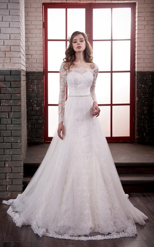A-Line Long Bateau Long-Sleeve Lace-Up Lace Tulle Dress With Appliques And Waist Jewellery