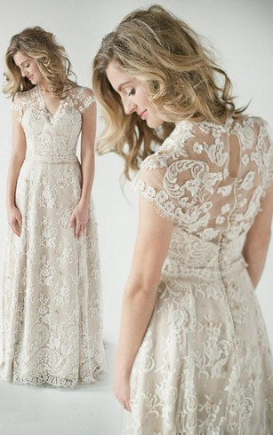 Rustic wedding gowns country western bridal dresses dorris a line empire short v neck bell cap empire draping beading appliques sweep train junglespirit Choice Image