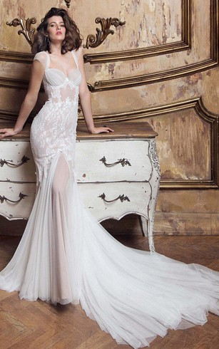 4a14d437c0c61 Gossamery Cap-Sleeve Illusion Tulle Wedding Dress With Lace And Court Train  ...