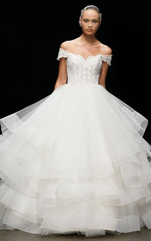 Glamourous Off the Shoulder Lace Bodice Tiered Tulle Ball Gown