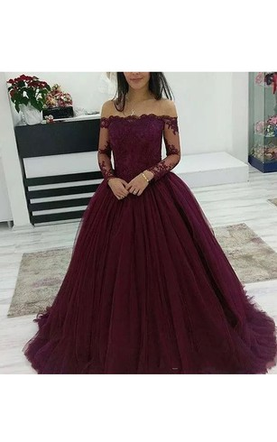 22f518ec9ab Off-the-shoulder Long Sleeve Sweep Train Tulle Ball Gown Dress