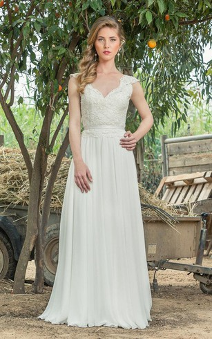 Plunged Cap Sleeve Lace Chiffon Pleated Wedding Dress With Low V Back
