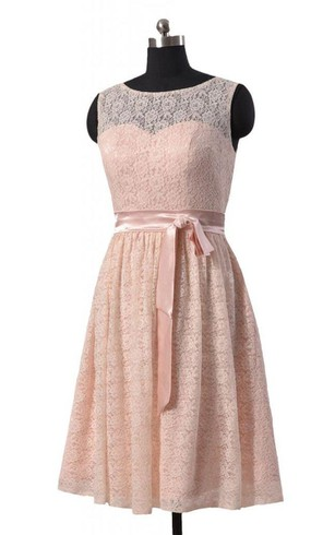 A-line Short Lace Dress With Illusion Neck