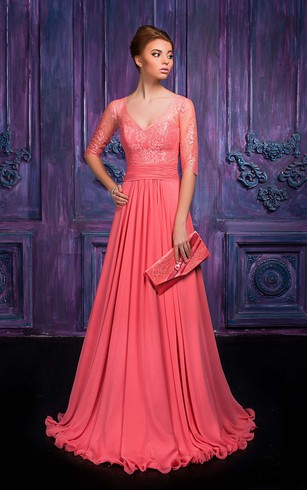 A-line Floor-length V-neck Half Sleeve Chiffon Illusion Dress