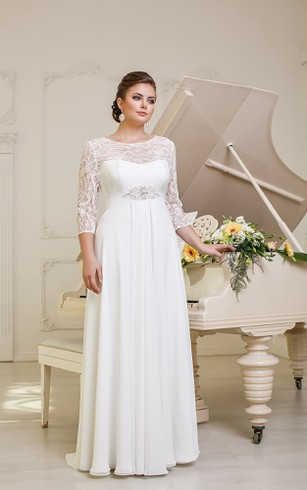 A Line Long Jewel Neck Illusion Sleeve Empire Corset Back Chiffon Dress