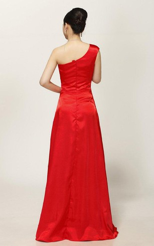 One-shoulder A-line Gown With Beadings and Ruching