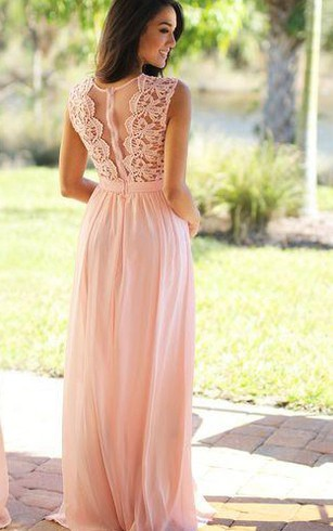 A-line Long High Neck Appliques Chiffon Lace Dress