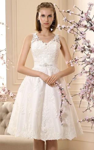 Short Length Bridal Dresses | Above Knee Wedding Dress - Dorris Wedding