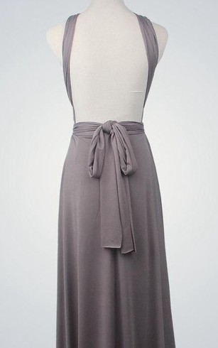 Backless Straped V Neck A-line Jersey Long Dress With Sash Silver
