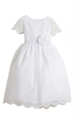 Short-sleeved A-line Embroidered Dress With Flower