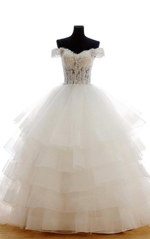 Off The Shoulder Tulle Ball Gown With Layered Skirt And Beaded Bodice