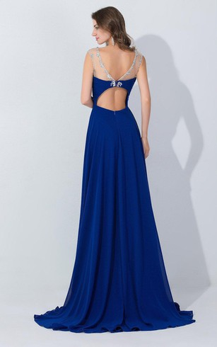 A-line Chiffon Long Dress With Beading Embellishment