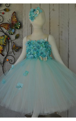 Flower Bodice Tulle Ball Gown With Jewel and Straps
