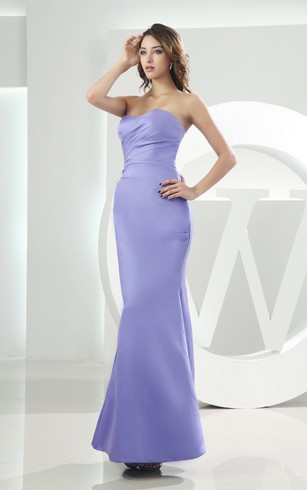 Sleeveless Satin Ankle-Length Mermaid Dress With Ruching