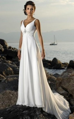 Backless bridal dresses open and low back wedding gowns dorris empire v neck court trains sleeveless chiffon beach wedding dresses for brides junglespirit Images